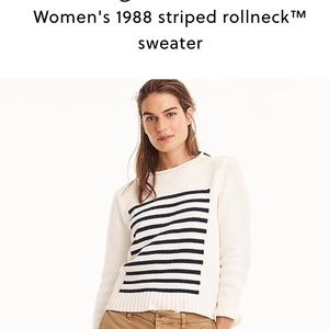 NWT J. Crew roll neck sweater 1988 ivory stripe